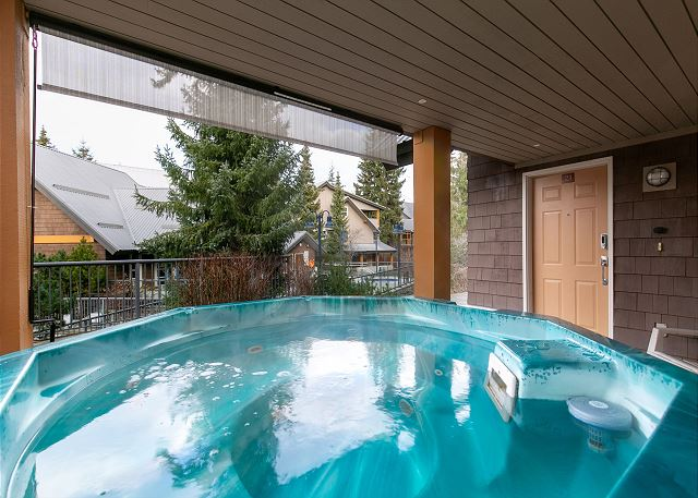 """""""Beautiful property in the heart of Whistler. The Private hot tub was an incredible luxury, excellent value!""""  The patio has  retractable privacy screen."""