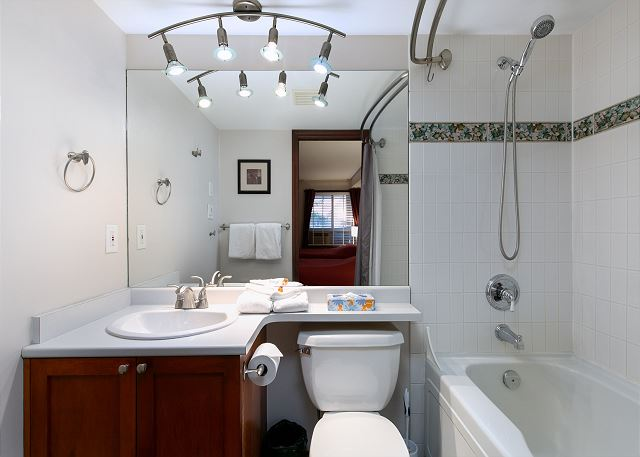 This bathroom has a soaker bath tub and a hand held shower
