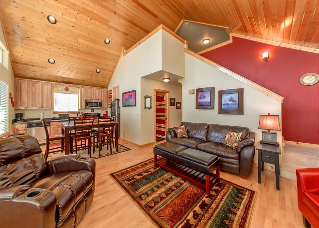 Fantastic Great Room with Vaulted Pine Ceilings