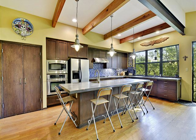 Rustic kitchen with a one of a kind island