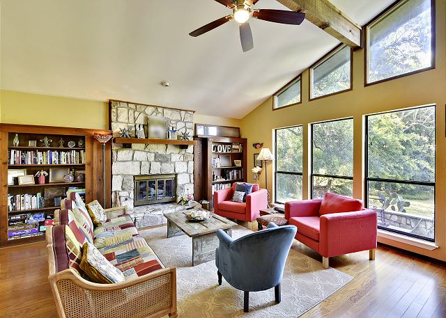 Another angle of the main living area with big windows