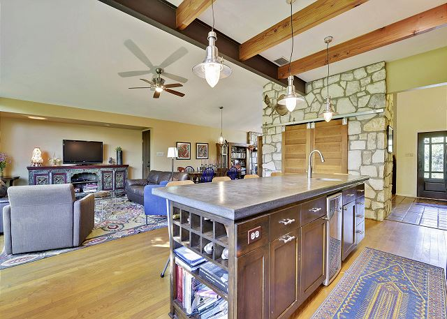 Main living and kitchen area - perfect place to cook some breakfast and enjoy your groups company