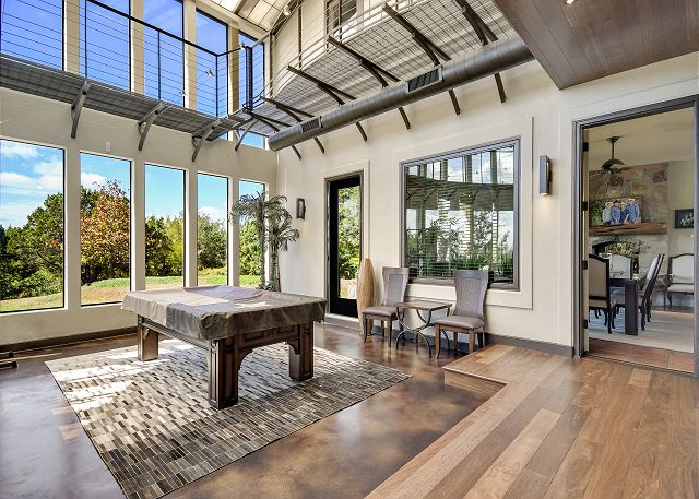The Game Room that comes complete with a pool table and beautiful views