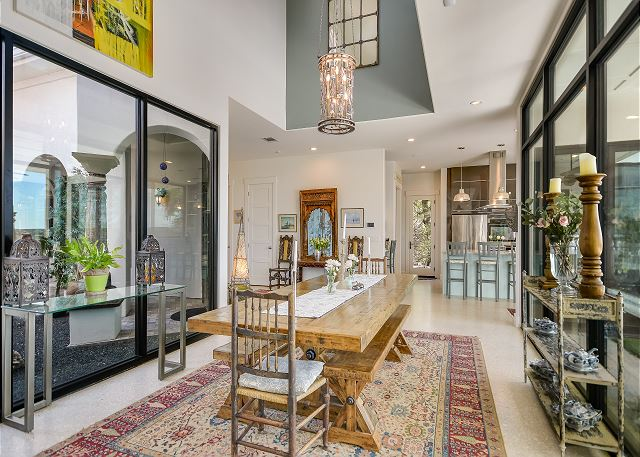 Beautiful room with views of both the tranquil foyer and expansive hill country