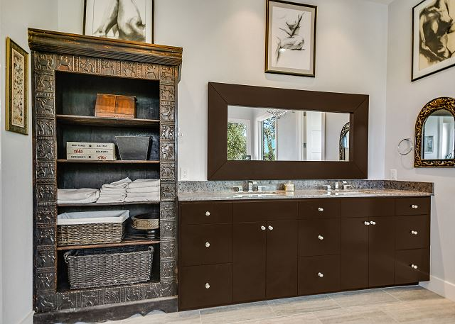 Master bathroom vanity with detailed cabinetry