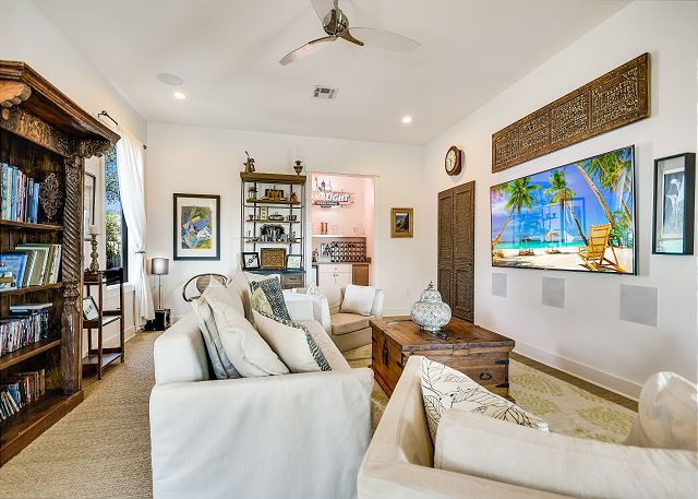 Media room with cozy furniture to enjoy movies with friends and family