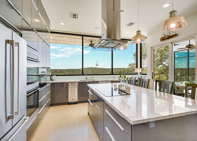 Large kitchen with high end appliances