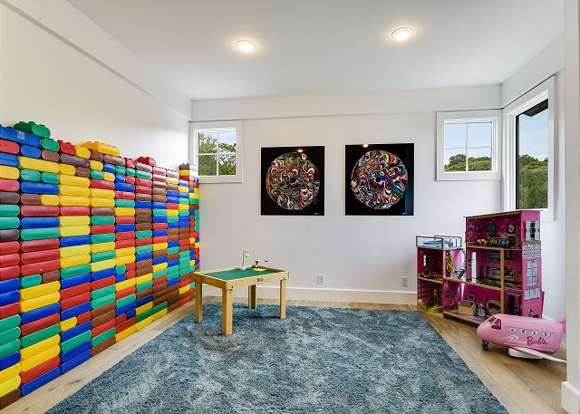 Fun and colorful game room for families to play