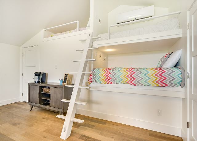 Whimsical loft bedroom, perfect for large groups