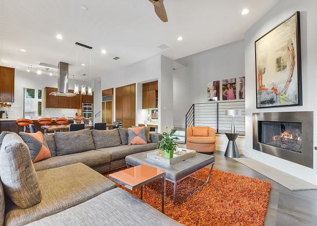 Lively family room with a trendy feel yet warm and inviting