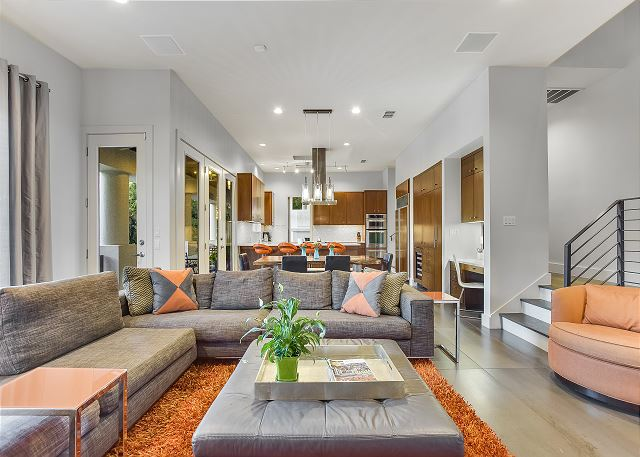 Spacious great room for the entire group to visit comfortably