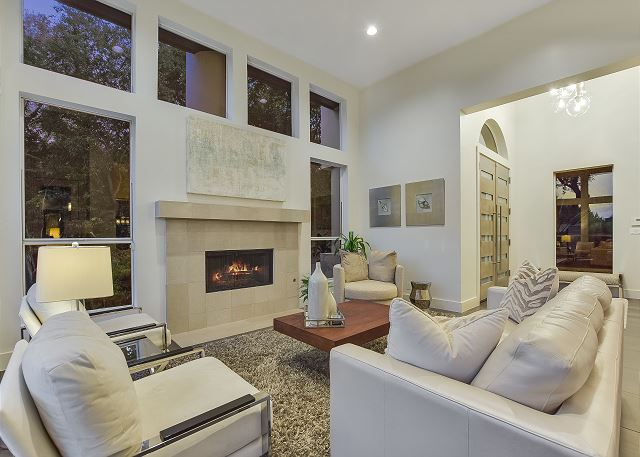 Beautiful living room with an inviting fireplace