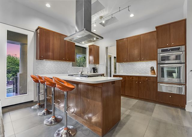 Enjoy your morning coffee in this beautiful open kitchen.