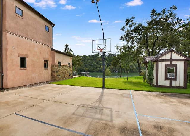 Basketball Court on the side of the house