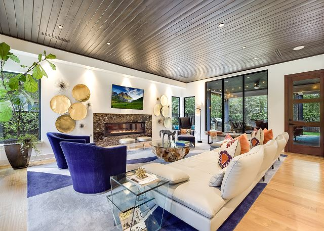Look at these beautiful ceilings.  The living room is large, but cozy!