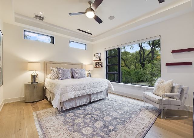 Large and airy master bedroom.  King bed.