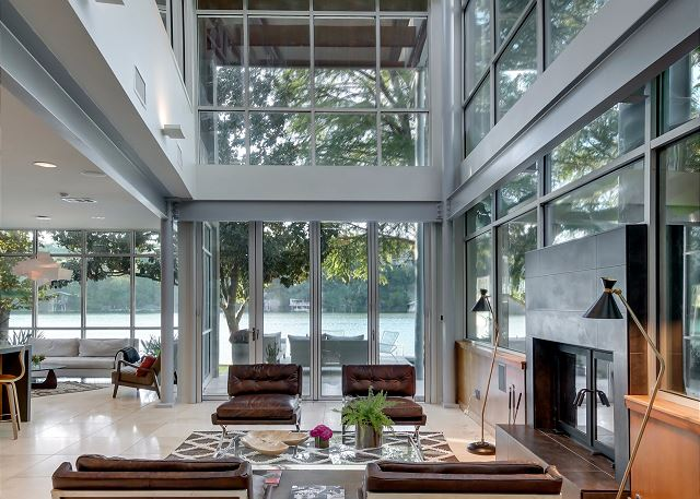 Gorgeous lake views can be enjoyed from the living room