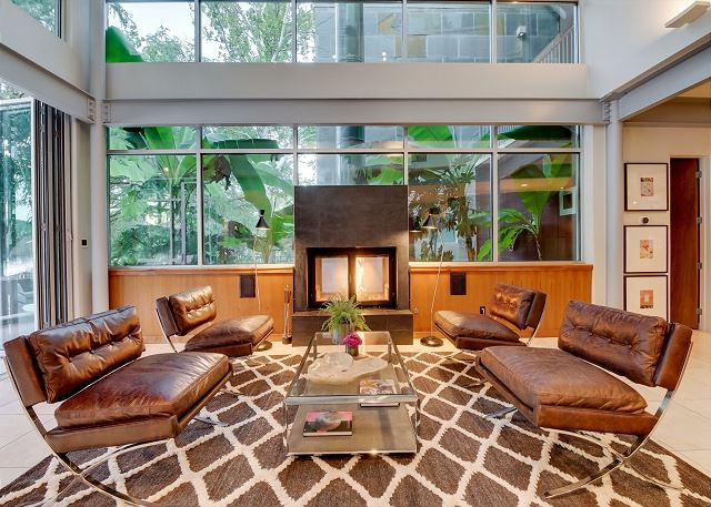Enjoy fireside chats with friends and family