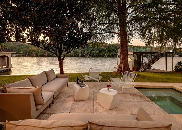 Enjoy lake views from the comfort of this fun outdoor seating area