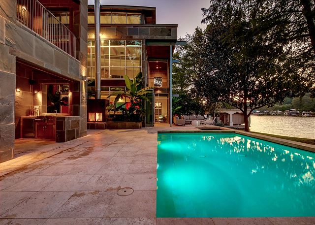 Large pool and outdoor kitchen area