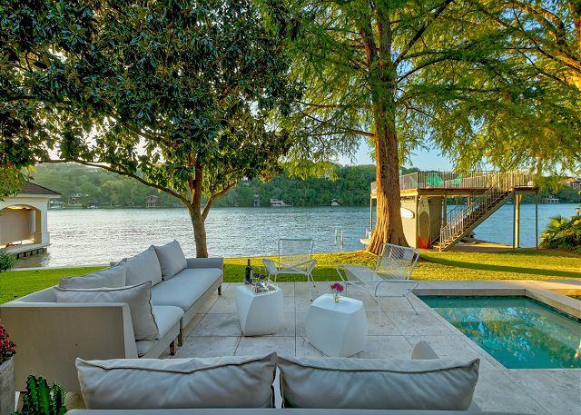 Lush outdoor seating area perfect for enjoying gorgeous sunny Austin, TX weather