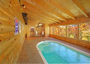 GONE SWIMMIN' #260 Smoky Mountain 2 Bedroom Private Indoor Swimming Pool Cabin with Hot Tub