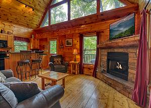 Lover's Lake #105 1 Bedroom Gatlinburg Cabin with Fishing Pond access and Pool table in loft