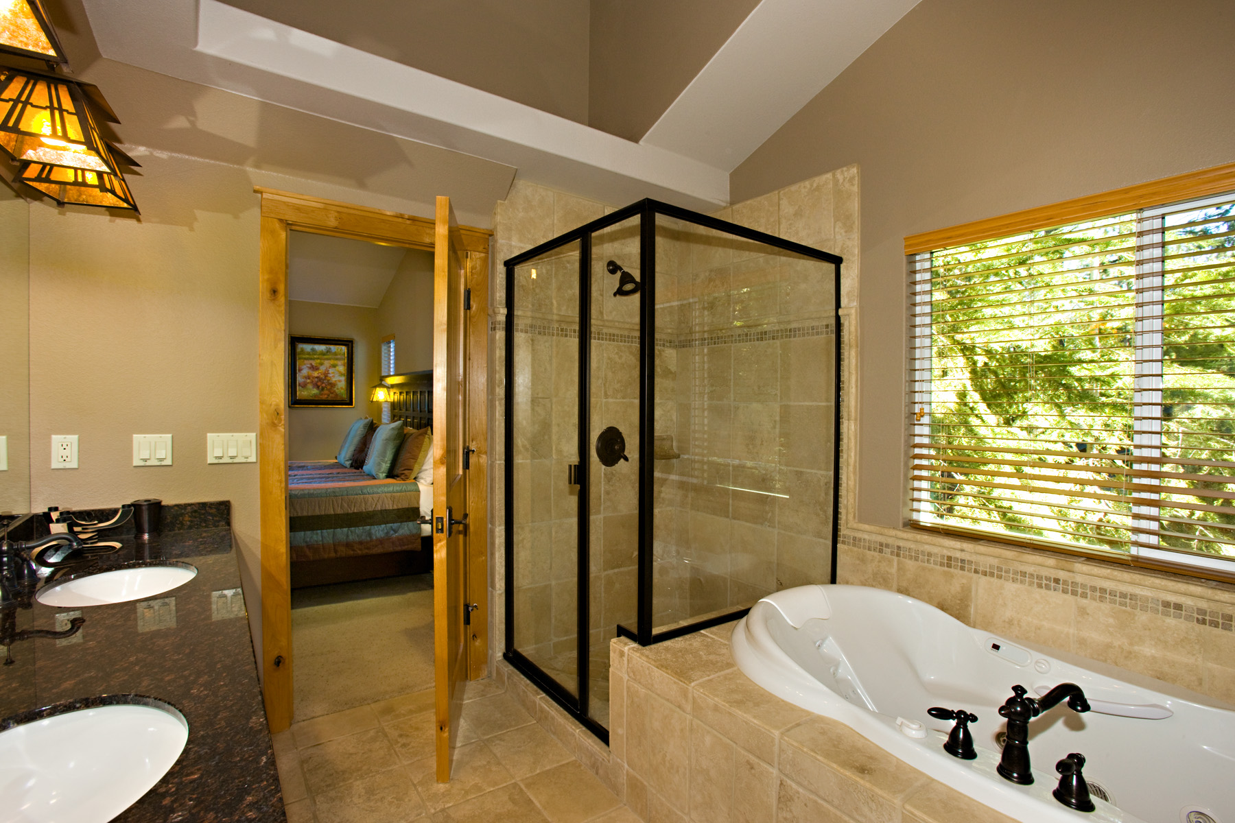 Plumas master bathroom with jacuzzi tub and shower