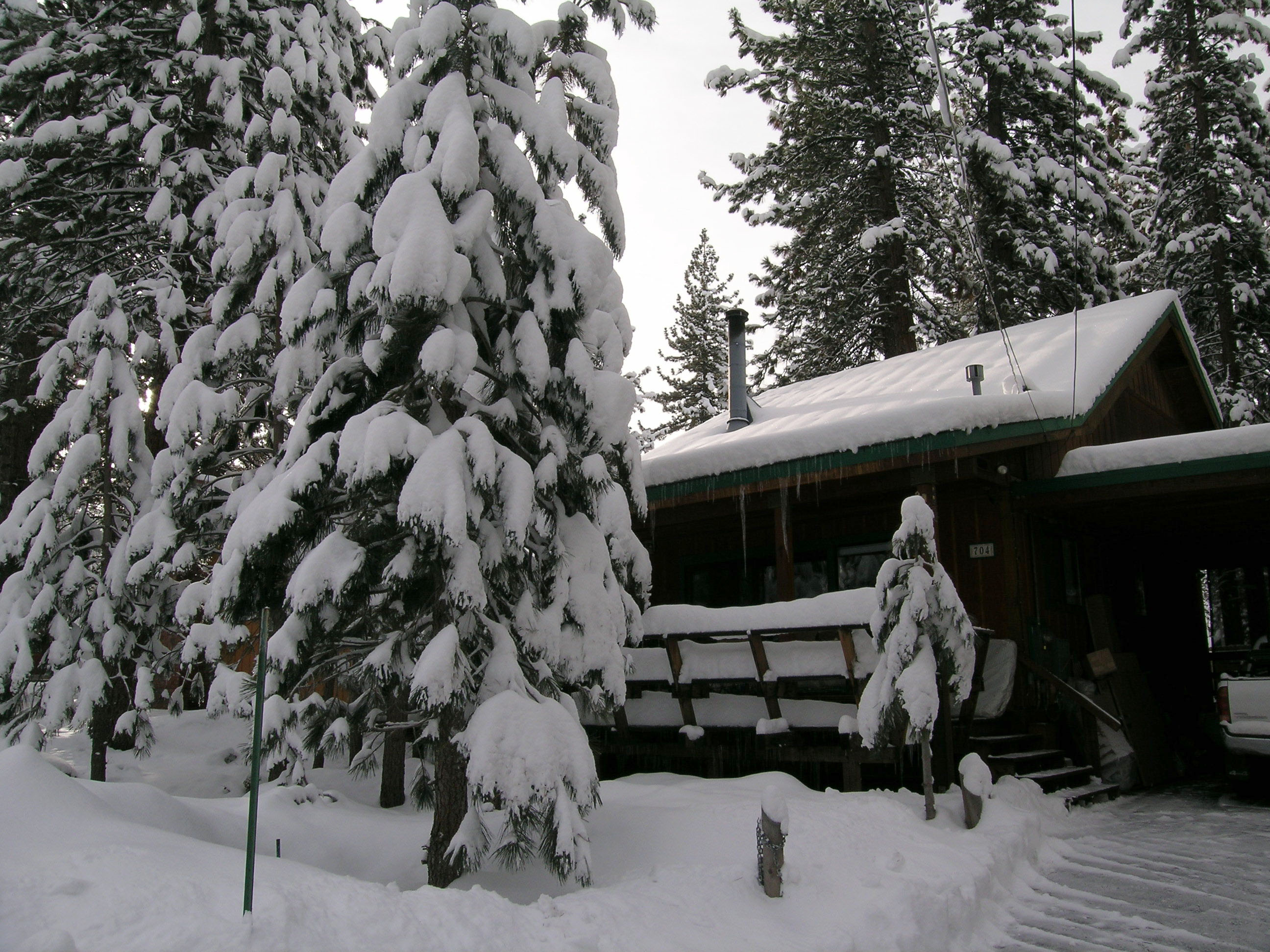 Cabin exterior in the snow