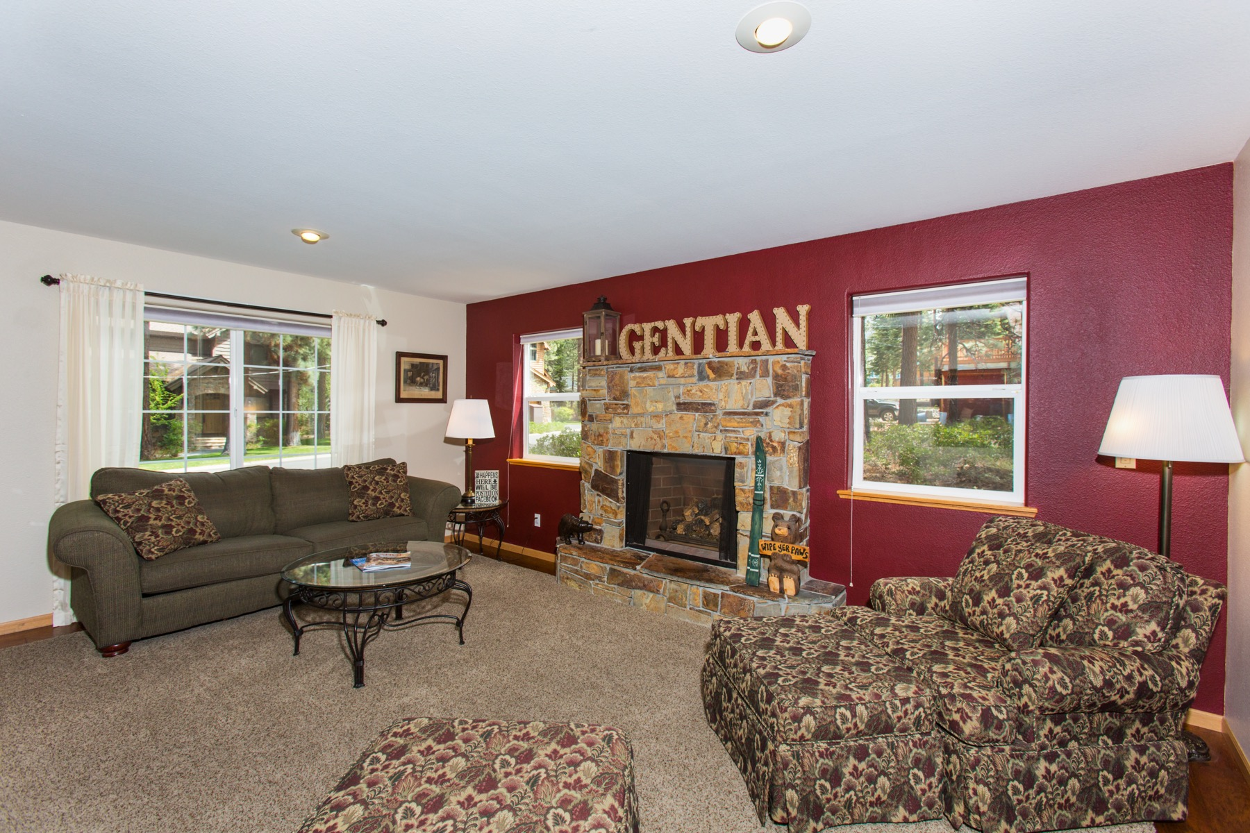 The warm living room with lots of comfortable seating