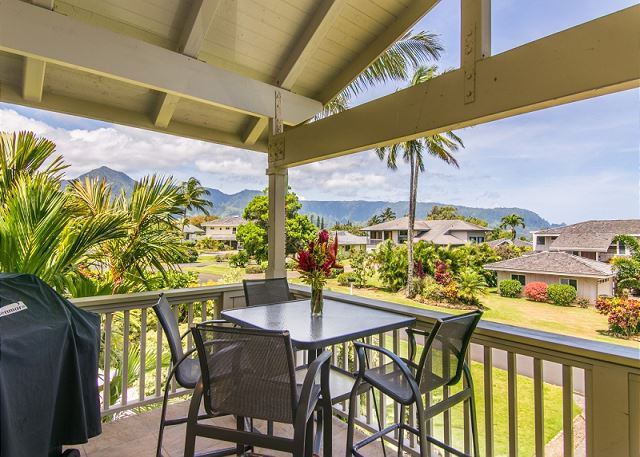 Enjoy a BBQ out on the lanai with mountain views.