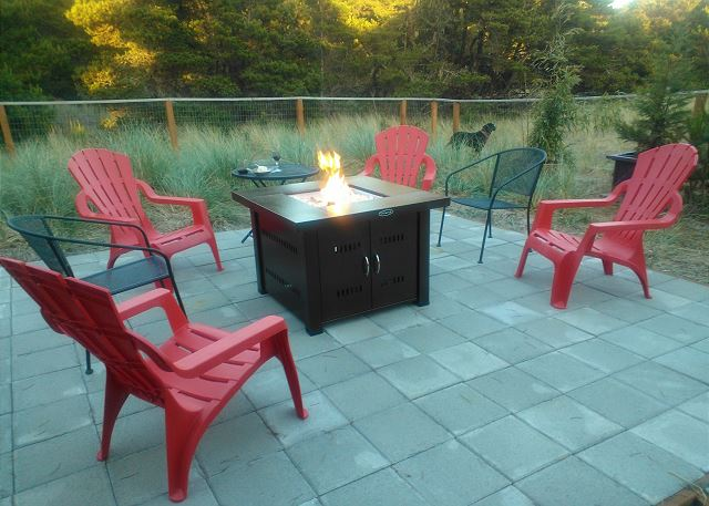 New outdoor propane fire pit for relaxing in the evening with a glass of wine.