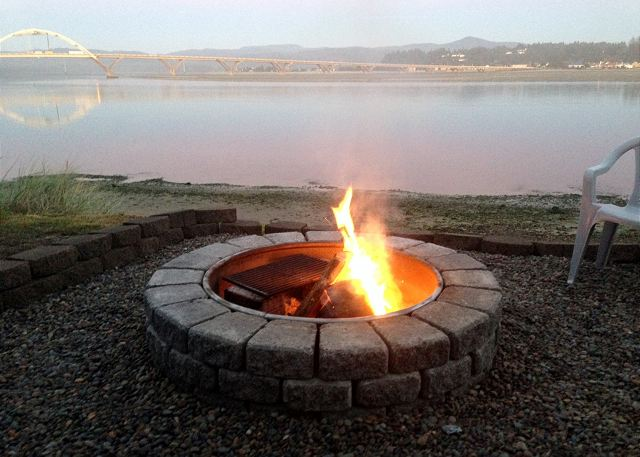 Evening comfort with the outdoor firepit. Wood