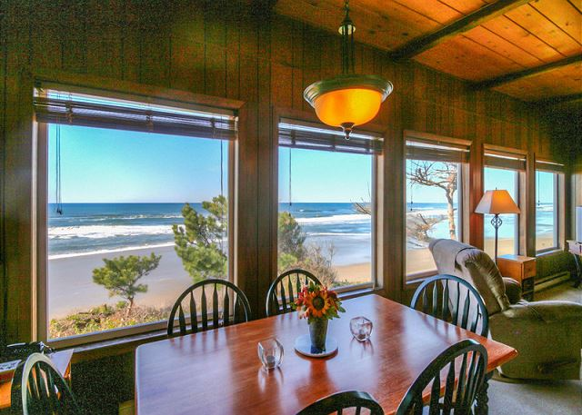 Views of the ocean from the kitchen and living room