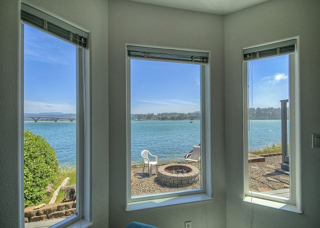 Master bedroom looks out over the bay