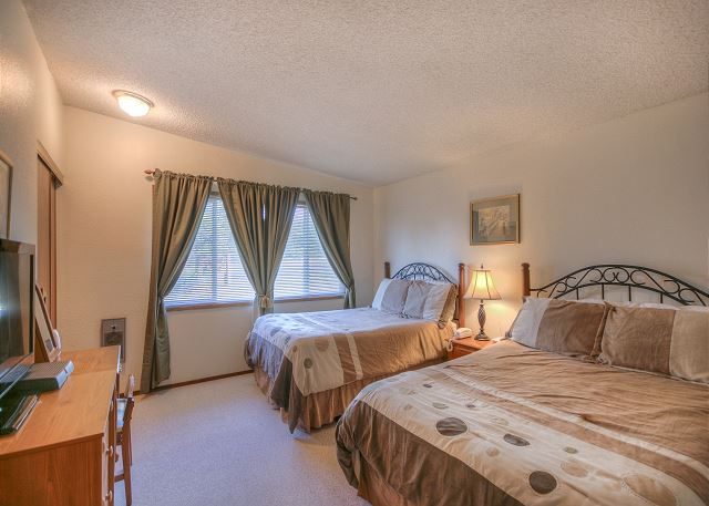 One Bedroom with one queen and one double. DISH TV in bedroom. Closet, desk and nightstand