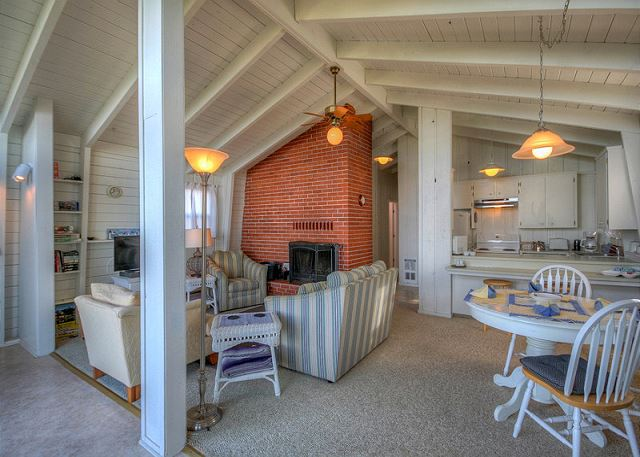 View from the sliding door entry into the living and dining, kitchen area