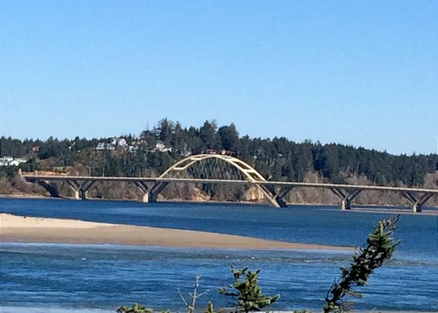 Alsea Bay Bridge from the backyard of the house