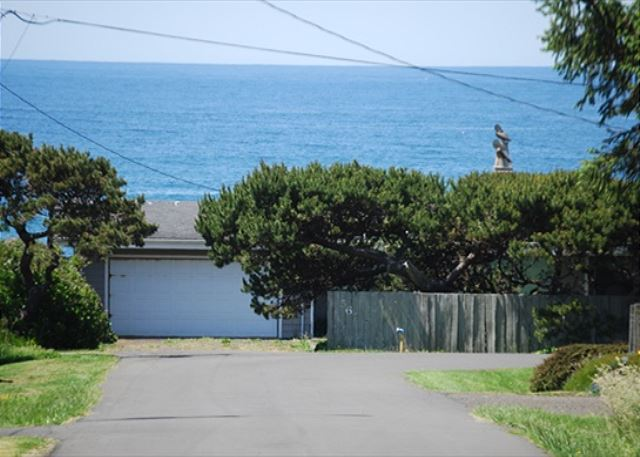 View from the street in front of the house. The ocean is one blo