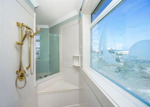 Master bathroom shower overlooking lake.