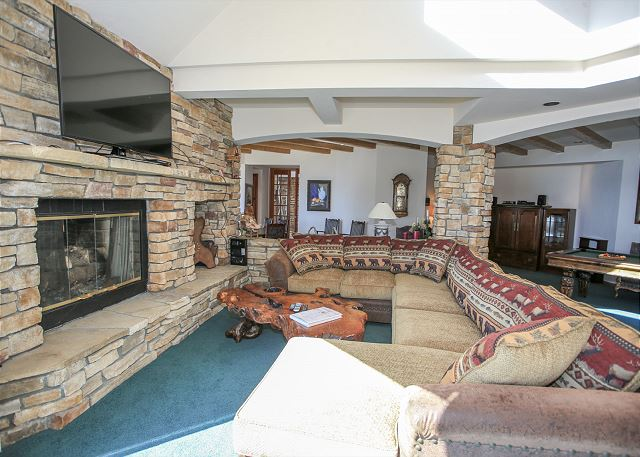 Rock fireplace in living room