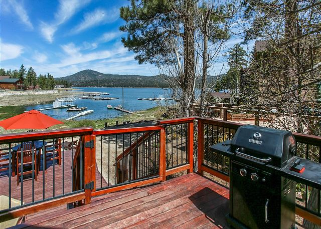 View of back deck with Propane BBQ and Seating