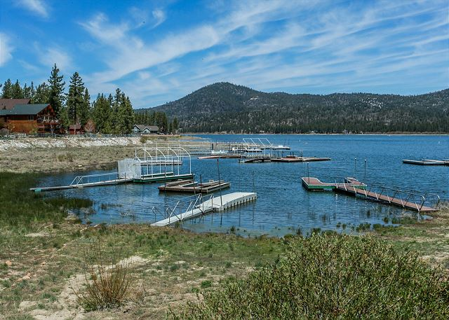 View of Private Boat Dock for guest use  Water Levels may be lower than normal, Summer 2021