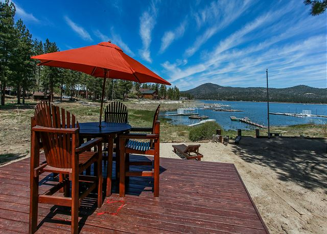 Beautiful view from seating area looking out towards the lake