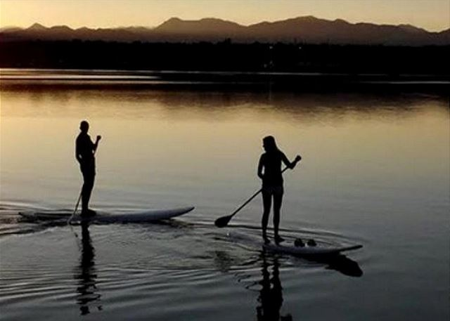 Paddle Boarding at sunset or early morning
