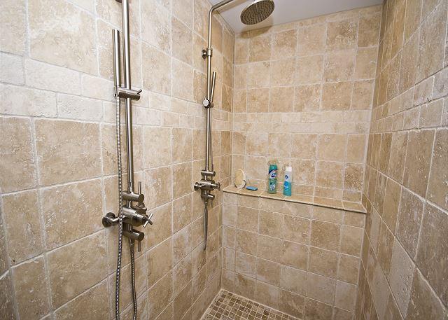 Upper Level Walk In Tiled Shower