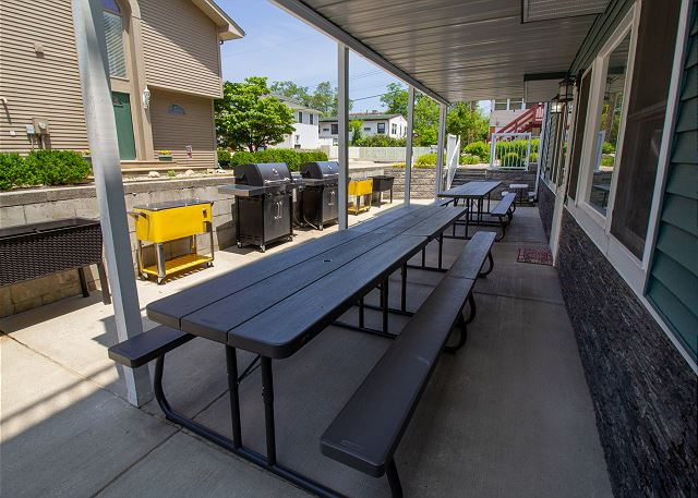Ground floor picnic area with two gas grills