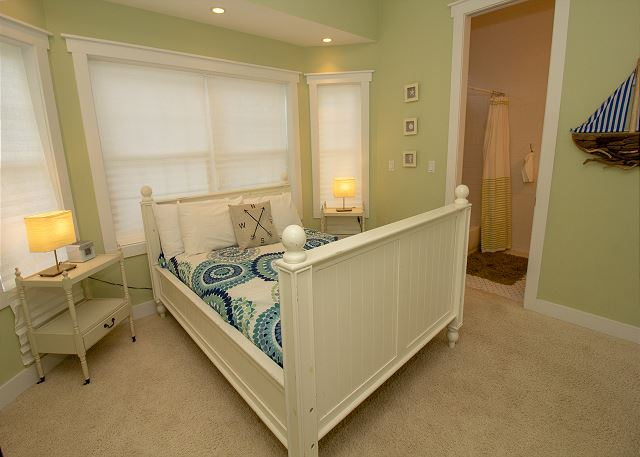 This is a view of the Full bed and its two end table