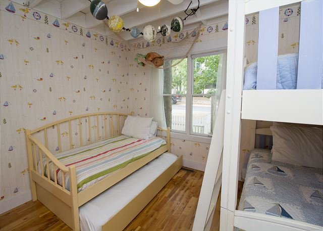 Main floor bunk beds and twin with trundle