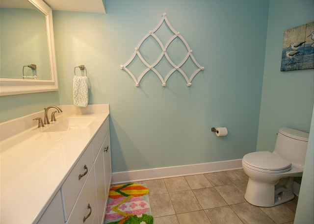 Lower level half bath with laundry